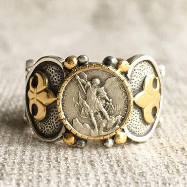 Michaelシルバーメダル&ルビー シルバー&18Kゴールドリング SACRED HEART(RMD1015)