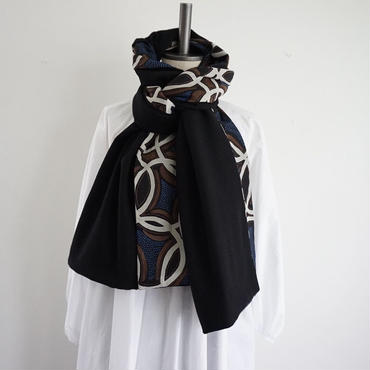 【完売】【online store 限定】big stole melton black afrotec blue