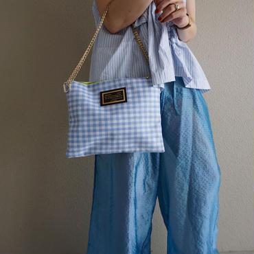 【完売】line clutch gingham blue