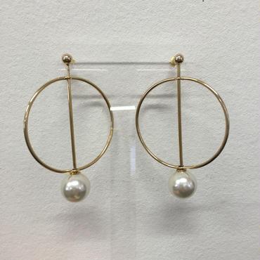 blue rank hoop pearl pierced earring