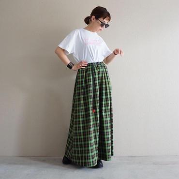 【予約終了】thomas magpie tartan check long skirt green