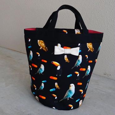 【新作・original textile】penelophia chemicalbirds black