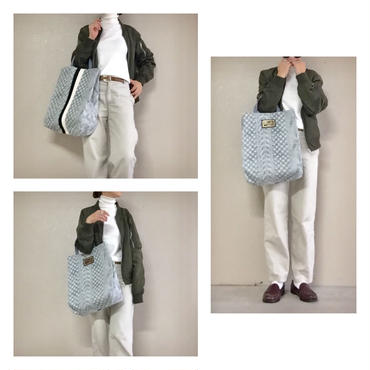 urban tote fake knit grey leather tag