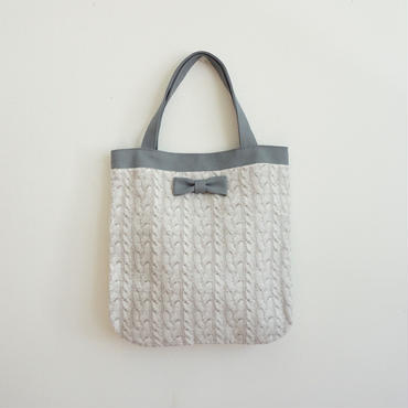 medium tote fake knit beige