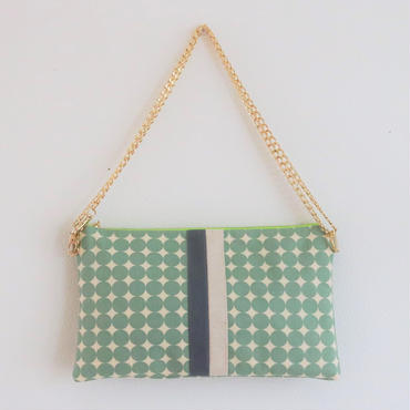 chain clutch dots mint