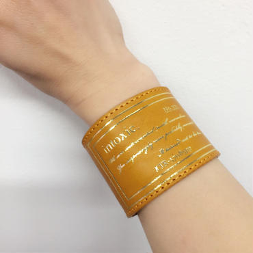 happiness leather cuff  yellow