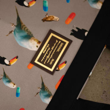 【新作・original textile】penelophia chemicalbirds grey