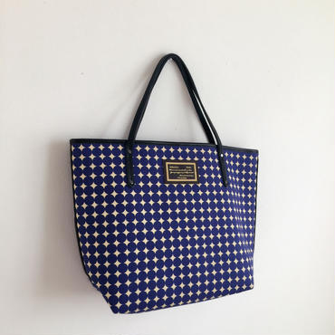 holiday tote large dots blue