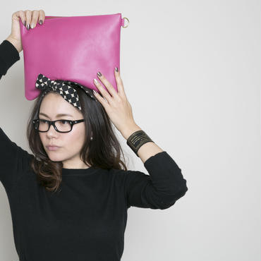 leather pouch toxic pink