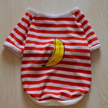 バナナプリント半袖ボーダーTシャツ (赤)