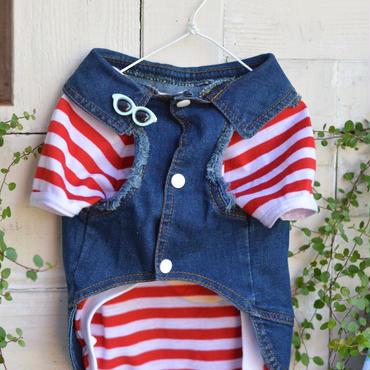 デニムベスト(赤)ボーダーTシャツセット
