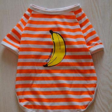 バナナプリント半袖ボーダーTシャツ (オレンジ)