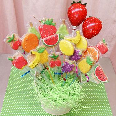 食べられるブーケ☆フルーツクッキーブーケ20本☆お誕生日や記念日のお祝いに!名入れ・メッセージ入れ無料☆彡