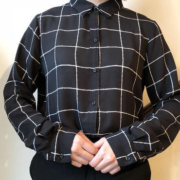 ブラック シースルーペンチェック柄シャツ