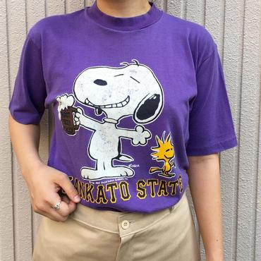 パープル スヌーピープリントTシャツ
