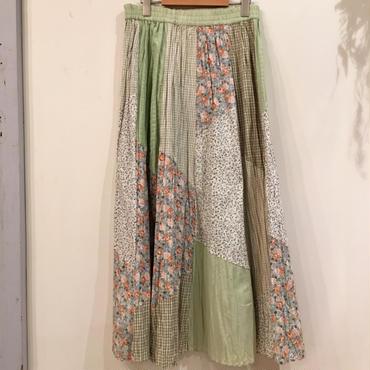 パッチワーク グリーン 花柄ロングスカート