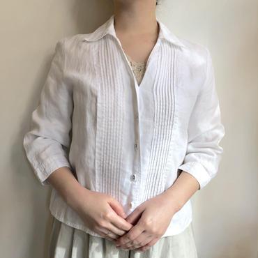 ホワイト リネンシャツ