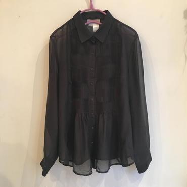 ブラックシアーシャツブラウス