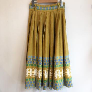 vintage 50's イエロー壁画柄スカート