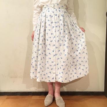 50's vintage   ホワイト×ブルー 花柄スカート