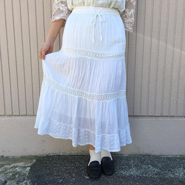 インド綿ホワイトレーススカート
