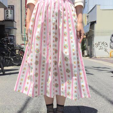 vintage 1950年代ピンク×ストライプ お花柄スカート