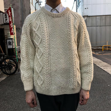 White fisherman knit