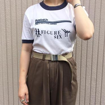 ホワイト×ネイビー Huebsch ロゴプリントTシャツ