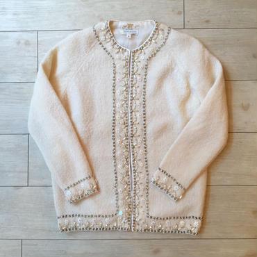vintage 1960's~ ホワイト ビーズ刺繍カーディガン