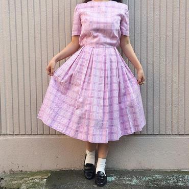 50's ピンクモザイクタイル柄ワンピース