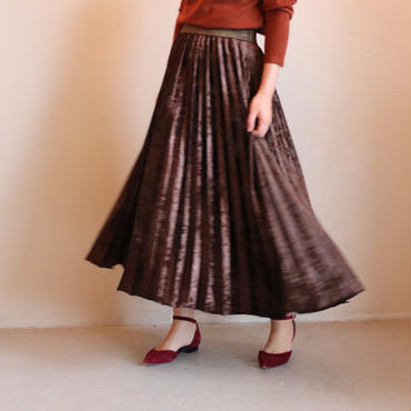 ベルベットプリーツロングスカート