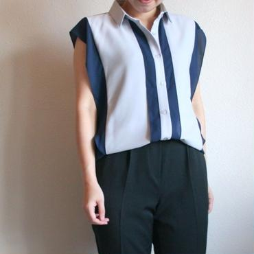 シフォンブロックカラーシャツ