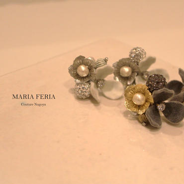 Velvet flower Earrings(グレー)【VFグレーER】