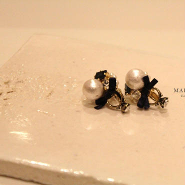 Earrings of ring【ERネイビーER】