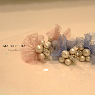 Ribbon Tulle Earrings【RTブルーER】