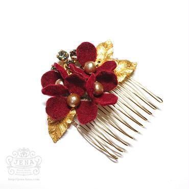Velvet Flower Comb 【Bordeaux 】