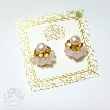 Natural Stone&Freshwater Pearl 【ローズクォーツ】イヤリング/ピアス