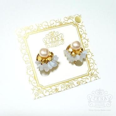 Natural Stone&Freshwater Pearl 【ブルーレース】イヤリング/ピアス