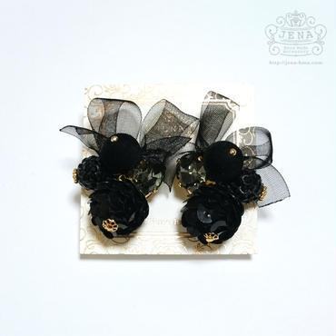 Organdy Spangle イヤリング/ピアス 【BLACK】