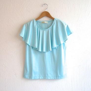 ラッフルカラーカットソー[aqua blue]