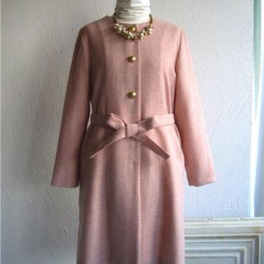 無地ツイードベルト付きコート[antique pink]