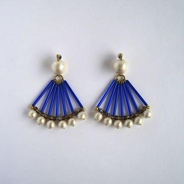 Saphiret fan shapedピアス/イヤリング [blue]