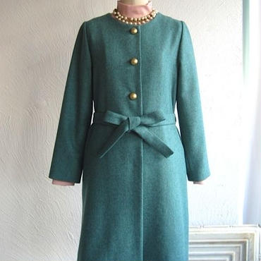 la reine Reinette  無地ツイードベルト付きコート