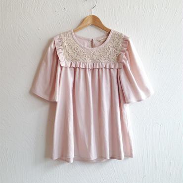 レース×コットンリネンブラウス[antique pink]