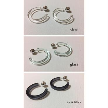 pi-35 acrylic hoop pierce -clear,glass,clear black