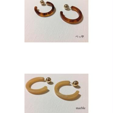 pi-34 acrylic hoop pierce- べっ甲,marble