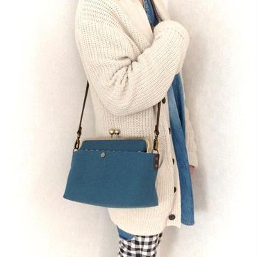 再販💕荷物持ちさんのための✨がま口帆布ショルダーバックL ミネラルブルー(単色)