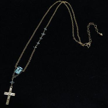 宝石質スカイブルートパーズ×ハーキマーダイヤモンドのクロスネックレス14kgf