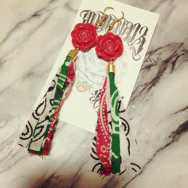 ローズ × メキシコカラーバンダナ フリンジピアス 再販!