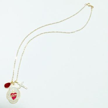 みこころのメダイチャーム × キュービックジルコニアクロス × ドロップ型スワロフスキークリスタルのネックレス(チェーン14kgf)